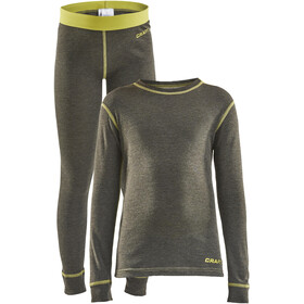 Craft Core Wool Merino Baselayer Set Kinderen, dark olive melange